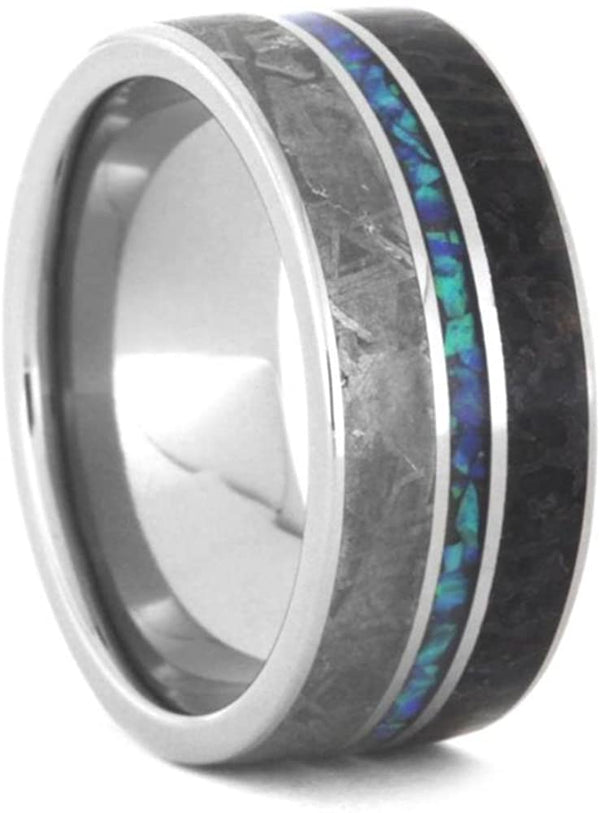 Crushed Synthetic Opal, Gibeon Meteorite, Dinosaur Bone 9.5mm Titanium Comfort-Fit Wedding Band, Size 7