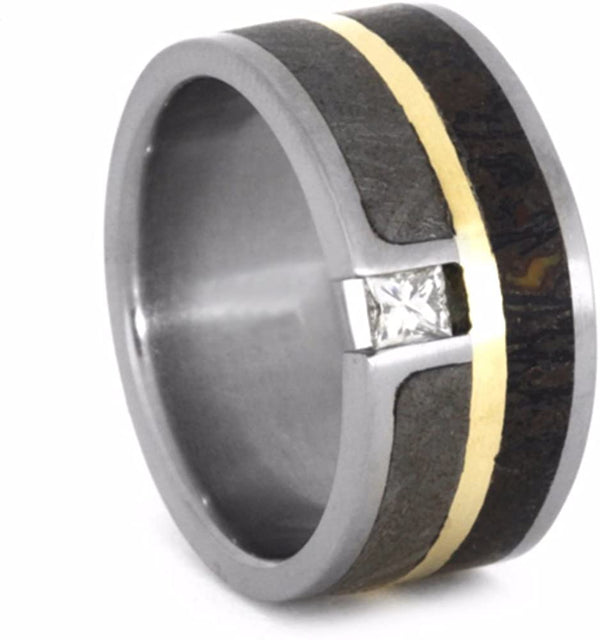 The Men's Jewelry Store (Unisex Jewelry)) Tension-Set Diamond, Dinosaur Bone, Gibeon Meteorite, 14k Yellow Gold 9mm Comfort-Fit Titanium Wedding Band