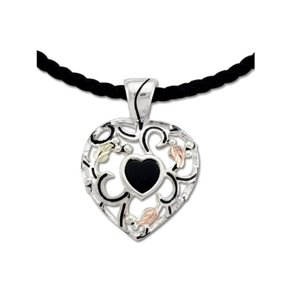 Onyx Filigree Heart Pendant Necklace, Sterling Silver, 12k Green and Rose Gold Black Hills Gold Motif, 18""