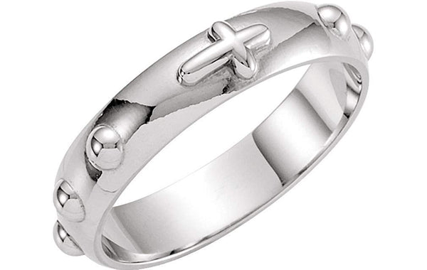 Sterling Silver 4.75mm Cross Rosary Ring, Size 10