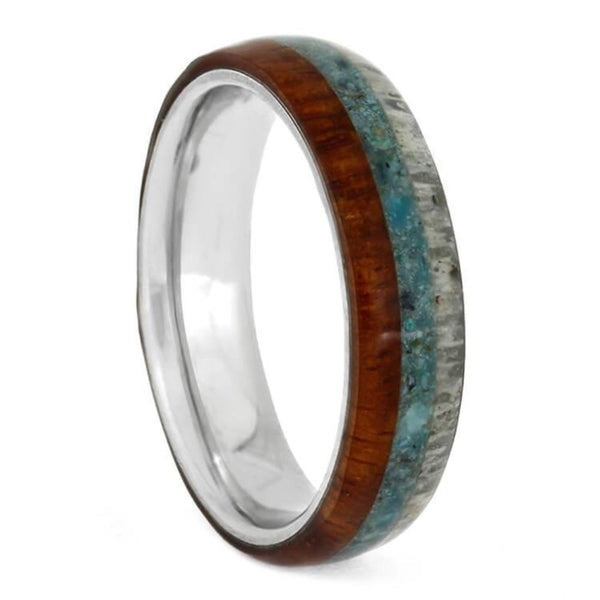The Men's Jewelry Store (Unisex Jewelry) Crushed Turquoise, Deer Antler, Amboyna Wood, 4.5mm Titanium Comfort-Fit Band, Size 15.75