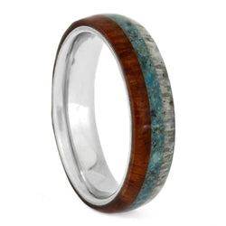 Crushed Turquoise, Deer Antler, Amboyna Wood, 4.5mm Titanium Comfort-Fit Band, Size 14