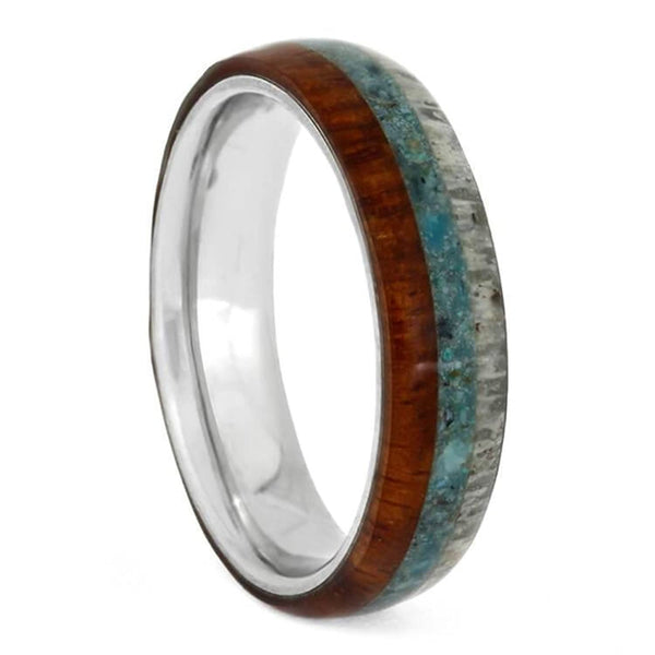 The Men's Jewelry Store (Unisex Jewelry) Crushed Turquoise, Deer Antler, Amboyna Wood, 4.5mm Titanium Comfort-Fit Band, Size 11.75