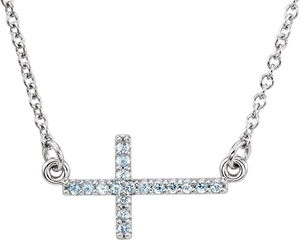 17-Stone Aquamarine Sideways Cross Rhodium Plate 14k White Gold Pendant Necklace, 16-18""