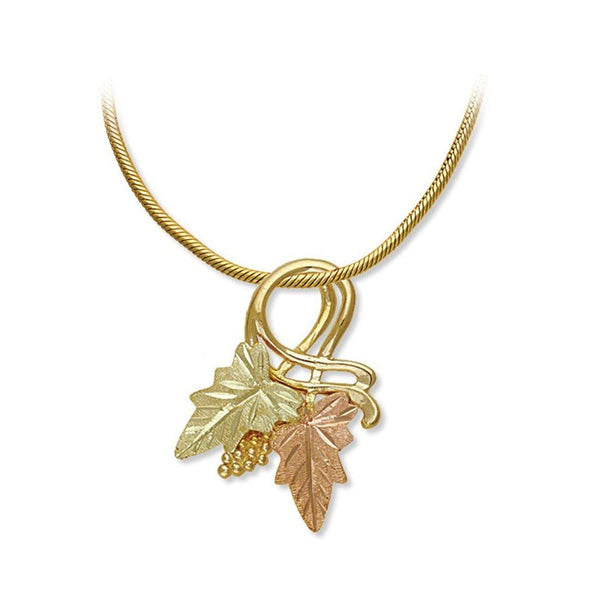 Slide Pendant Vermeil Snake Chain Necklace, 10k Yellow Gold, 12k Green and Rose Gold Black Hills Gold Motif, 18""