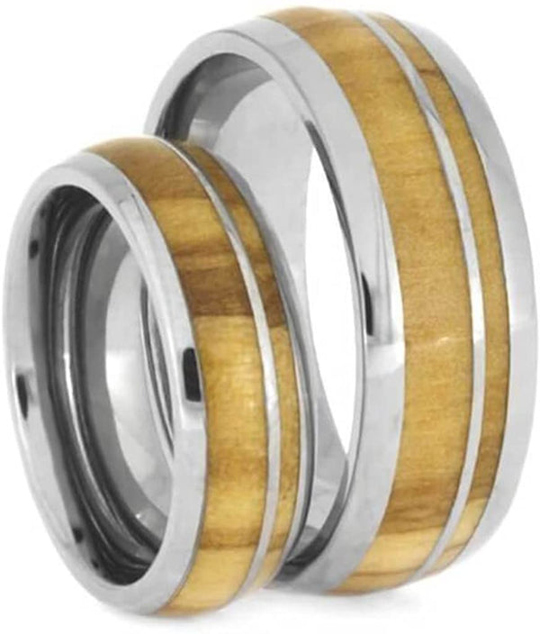 Olive Wood Comfort-Fit Titanium Couples Wedding Bands