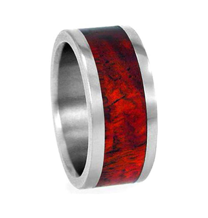 Amboyna Wood 8mm Comfort Fit Interchangeable Titanium Wedding Band