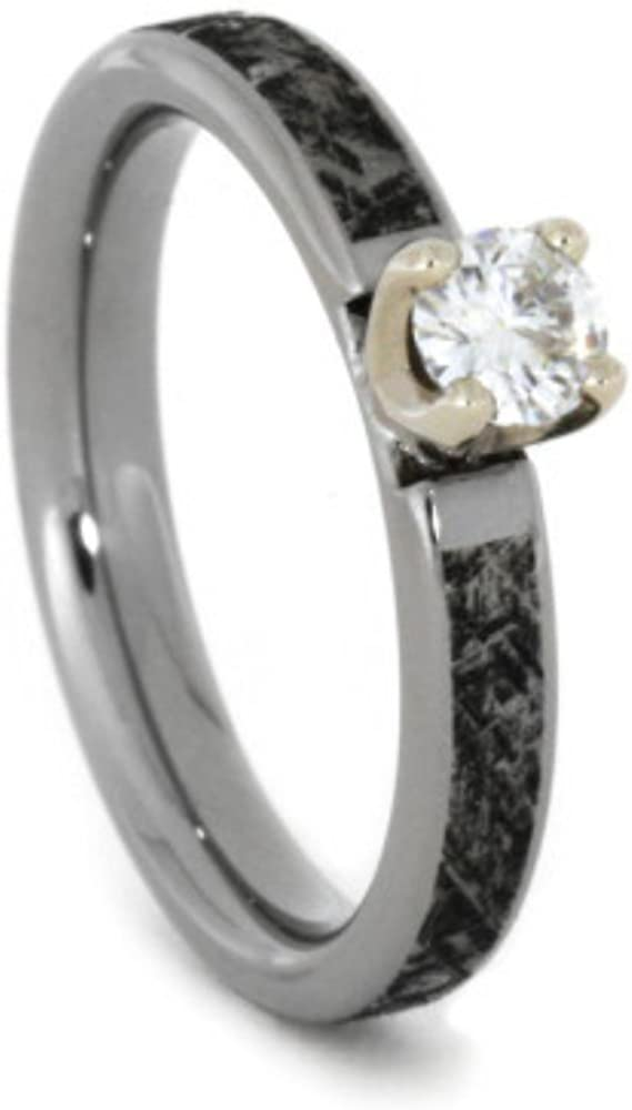 Forever One Moissanite In 14k White Gold Prongs, Mimetic Meteorite 4mm Comfort-Fit Titanium Band, Size 10.25
