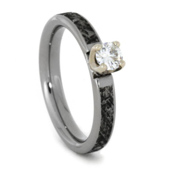 Charles & Colvard Forever One Moissanite, Mimetic Meteorite 4mm Comfort-Fit Titanium Band