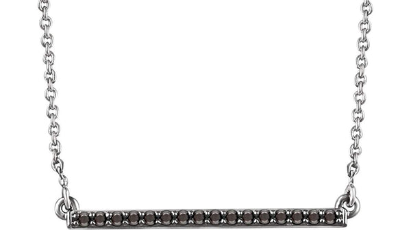 "16-Stone Black Diamond Bar Rhodium Plate 14k White Gold Pendant Necklace, 18"" (.16 Ctw, Black, I2 Clarity)"