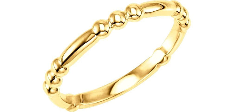 Dot-Dot-Dot-Dash Stacking 2.5mm 14k Yellow Gold Ring
