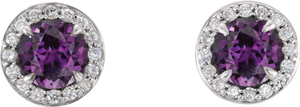 Chatham Created Alexandrite and Diamond Earrings, Rhodium-Plated 14k White Gold (4.5MM) (.16 Ctw, G-H Color, I1 Clarity)