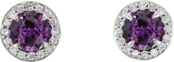 Chatham Created Alexandrite and Diamond Earrings, Rhodium-Plated 14k White Gold (5MM) (.16 Ctw, G-H Color, I1 Clarity)