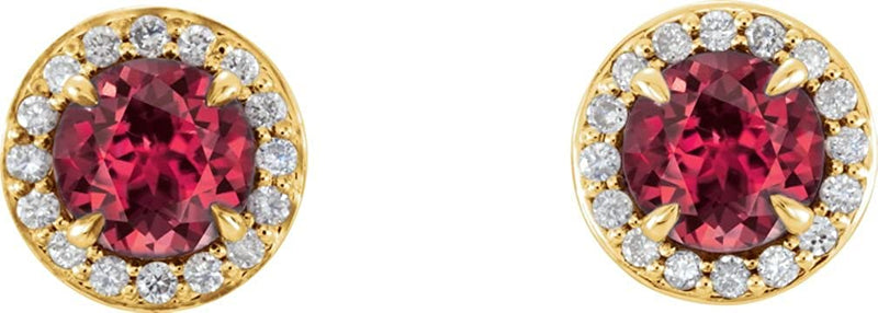 Ruby and Diamond Halo-Style Earrings, 14k Yellow Gold (5 MM) (.16 Ctw, G-H Color, I1 Clarity)