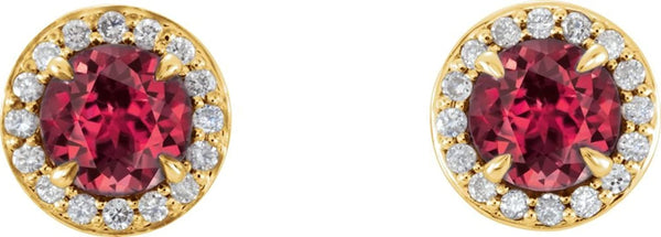 Ruby and Diamond Halo-Style Earrings, 14k Yellow Gold (4 MM) (.125 Ctw, G-H Color, I1 Clarity)