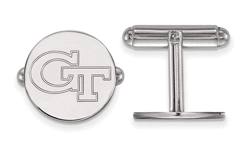 Rhodium-Plated Sterling Silver Georgia Institute Technology Cuff Links,15MM