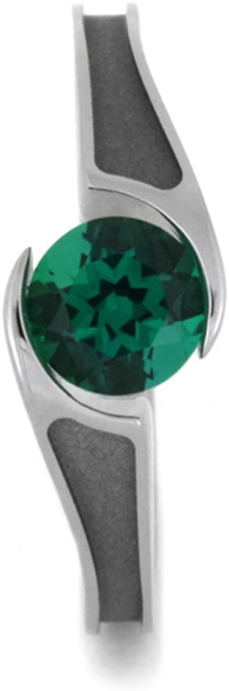 Tension Set Emerald 7mm Comfort-Fit Titanium Engagement Ring, Size 6.25