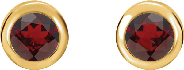 Mozambique Garnet Stud Earrings, 14k Yellow Gold