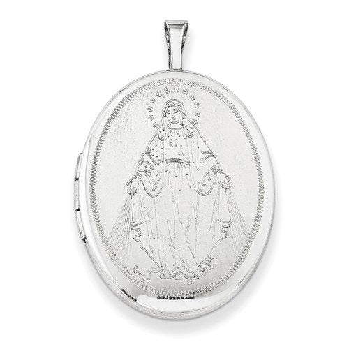 Sterling Silver Mary,Blessed Mother Locket Necklace, 18""