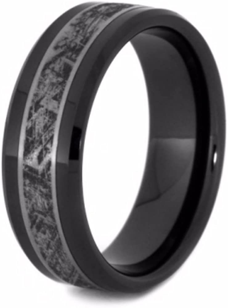 The Men's Jewelry Store (Unisex Jewelry) Black Ceramic, Mimetic Meteorite 8mm Comfort-Fit Matte Titanium Wedding Band
