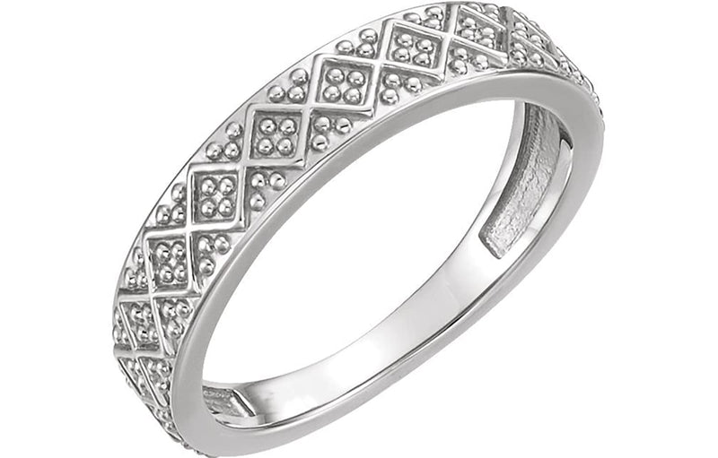 Beaded Design 4.4mm Stacking Band, Rhodium-Plated 14k White Gold