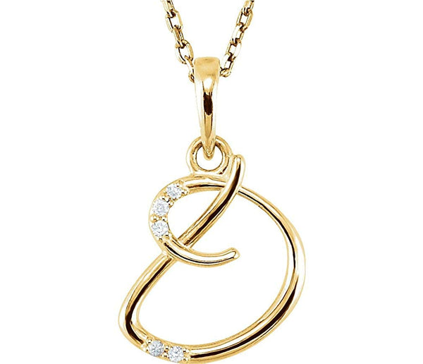 "5-Stone Diamond Letter 'D' Initial 14k Yellow Gold Pendant Necklace, 18"" (.03 Cttw, GH, I1)"