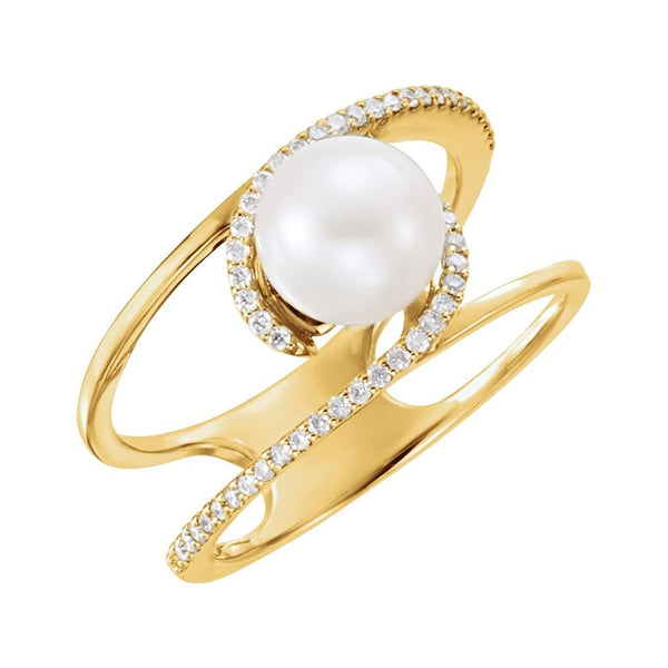 White Freshwater Cultured Pearl, Diamond Negative Space Ring, 14k Yellow Gold (7.5-8.00)(.125Ctw, G-H Color, I1 Clarity) Size 7
