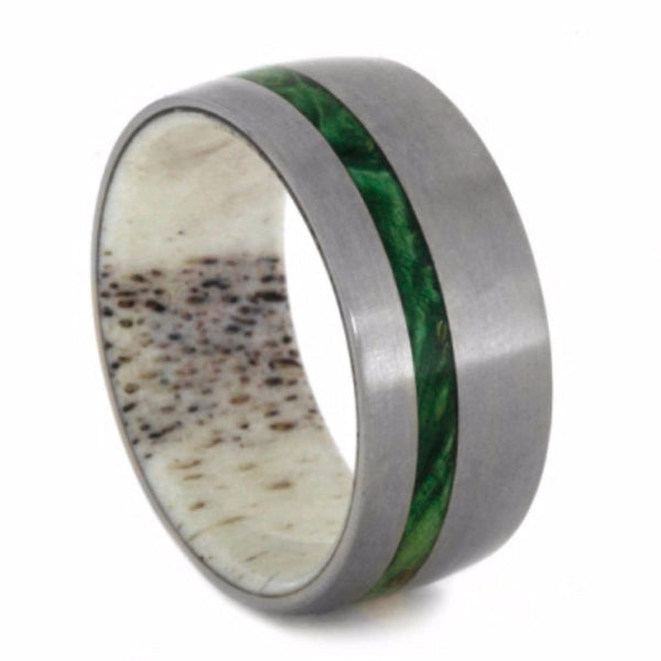 The Men's Jewelry Store (Unisex Jewelry) Green Box Elder Burl Wood, Deer Antler 10mm Comfort-Fit Matte Titanium Wedding Band
