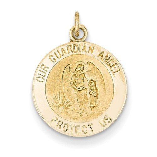 14k Yellow Gold Guardian Angel Charm Medal (20X15MM)
