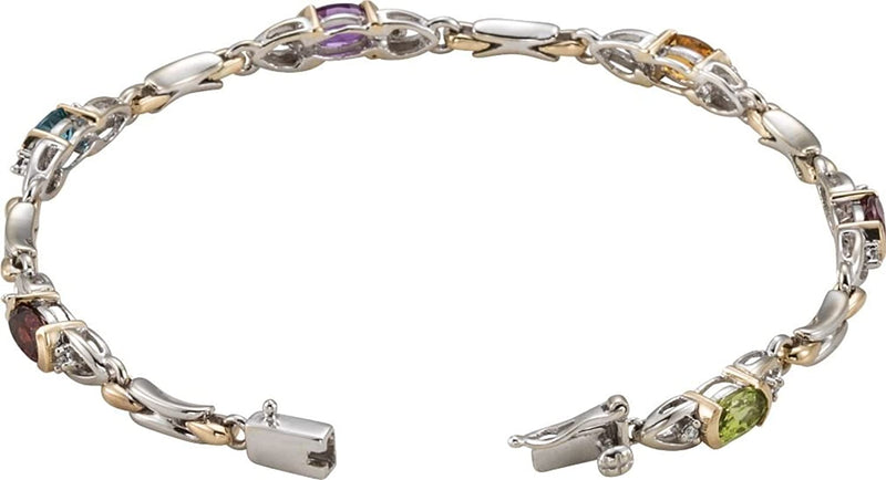 Diamond, Amethyst, Citrine, Garnet, Topaz and Peridot 14k White and Yellow Gold Bracelet