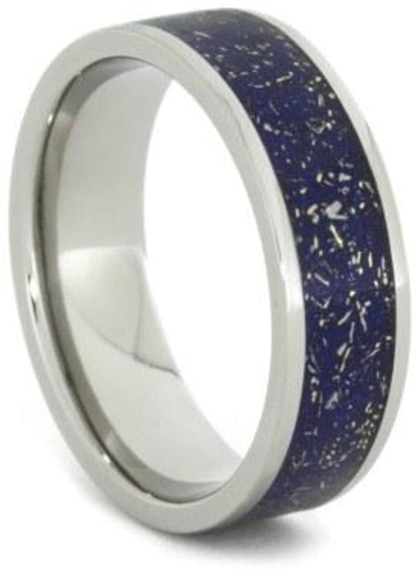 The Men's Jewelry Store (Unisex Jewelry) Blue Stardust with Meteorite and 14k Yellow Gold 7mm Comfort-Fit Titanium Ring, Size 4