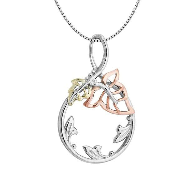 "High Polished Circle Leaf Vine Pendant Necklace, Rhodium Plated Sterling Silver, 10k Green and Rose Gold, 18"" to 22"""