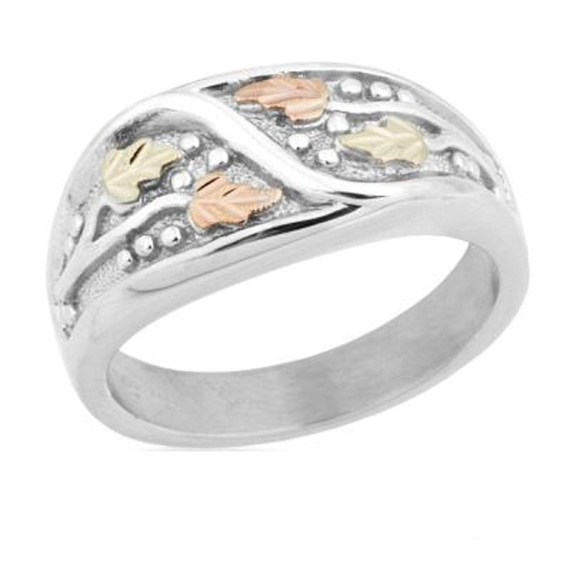 Men's Frosty Leaves Ring, Sterling Silver, 12k Green and Rose Gold Black Hills Gold Motif, Size 11.75