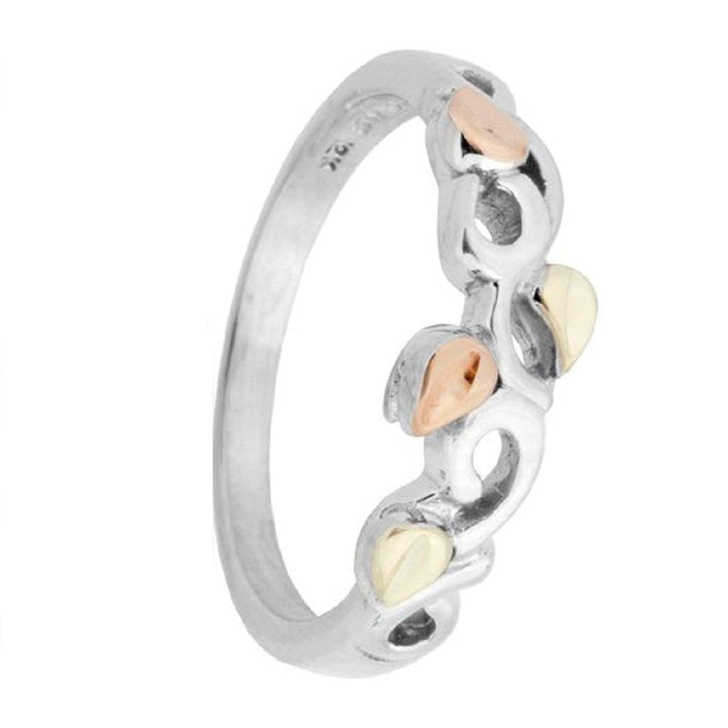 Slim-Profile Scroll Band, Rhodium Plated Sterling Silver, 10k Green and Rose Gold