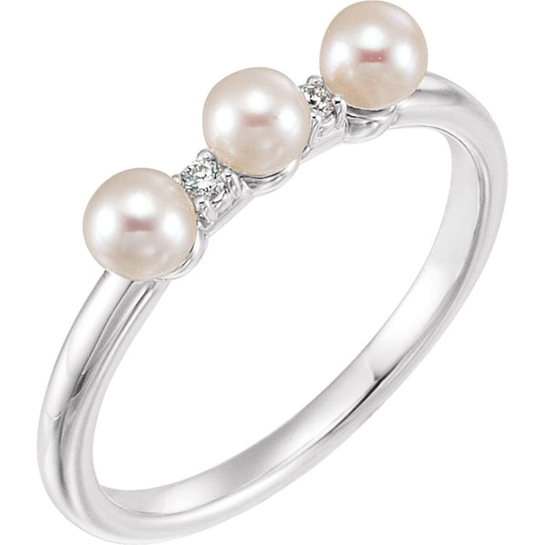 White Freshwater Cultured Pearl, Diamond Stackable Ring, Rhodium-Plated 14k White Gold (3.5mm)(.03Ctw, Color G-H, Clarity I1) Size 7