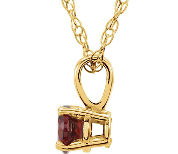 Children's Imitation Garnet 'January' Birthstone 14k Yellow Gold Pendant Necklace, 14""