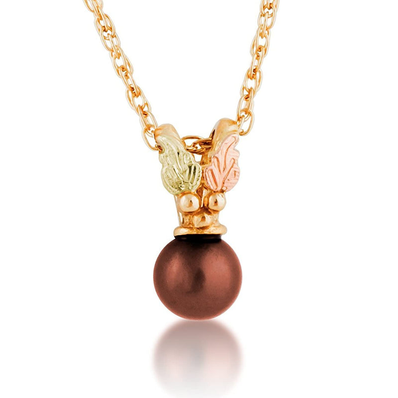 "Brown Chocolate Pearl Pendant Necklace, 10k Yellow Gold, 12k Green and Rose Gold Black Hills Gold Motif, 18"" (6.00 MM)"