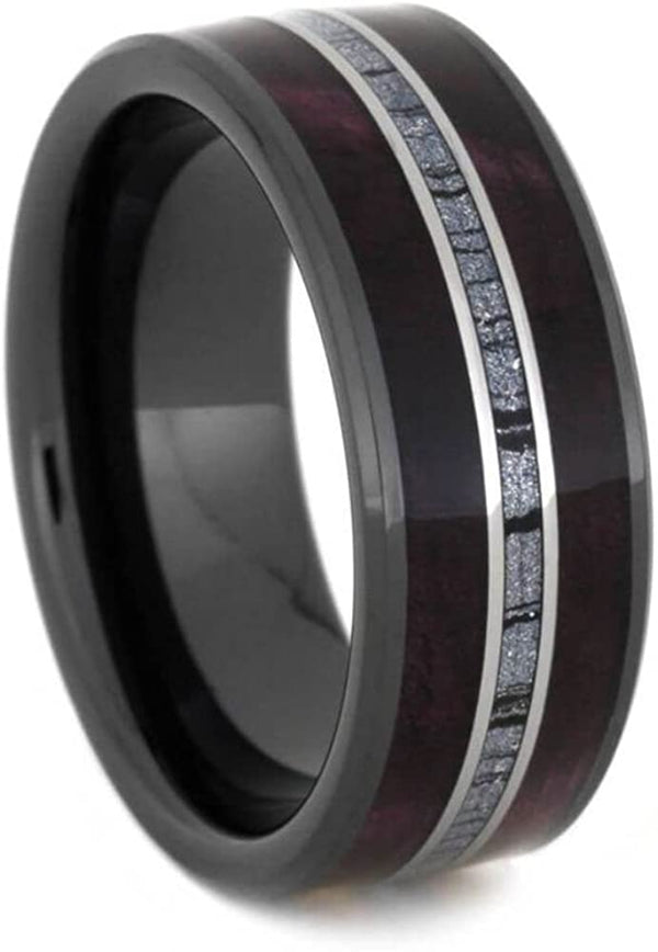 The Men's Jewelry Store (Unisex Jewelry) Purple Box Elder Burl, Cobaltium Mokume, Titanium 8mm Comfort-Fit Black Ceramic Sleeve Band