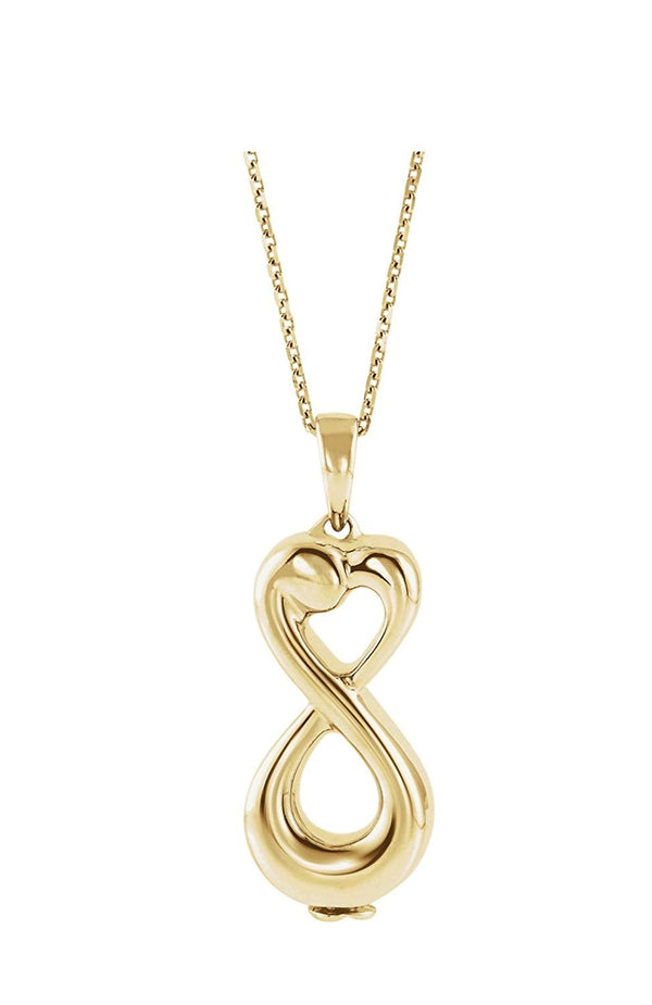 "Infinity Love Ash Holder 10k Yellow Gold Pendent Necklace, 18"" (27.00X9.00 MM)"