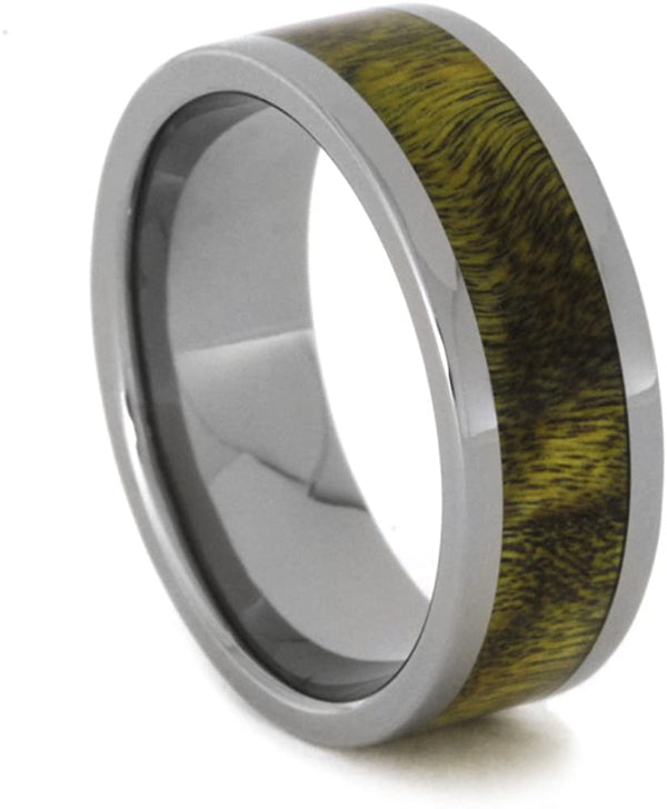 Yellow and Black Poplar Wood 8mm Comfort-Fit Titanium Wedding Band