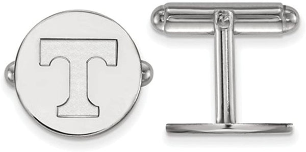 Rhodium-Plated Sterling Silver University of Tennessee Round Cuff Links, 15MM