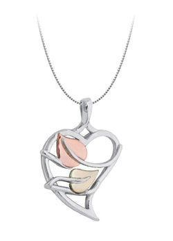 "Sweet Heart Leaves Pendant Necklace, Rhodium Plated Sterling Silver, 10K Green and Rose Gold, 18"" to 22"""