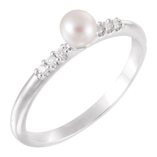 White Cultured Pearl, Diamond Stackable Ring, Rhodium-Plated 14k White Gold (4-4.5mm)(.05Ctw, Color G-H, Clarity I1)