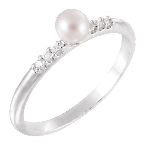 White Cultured Pearl, Diamond Stackable Ring, Rhodium-Plated 14k White Gold (4-4.5mm)(.05Ctw, Color G-H, Clarity I1) Size 6.75