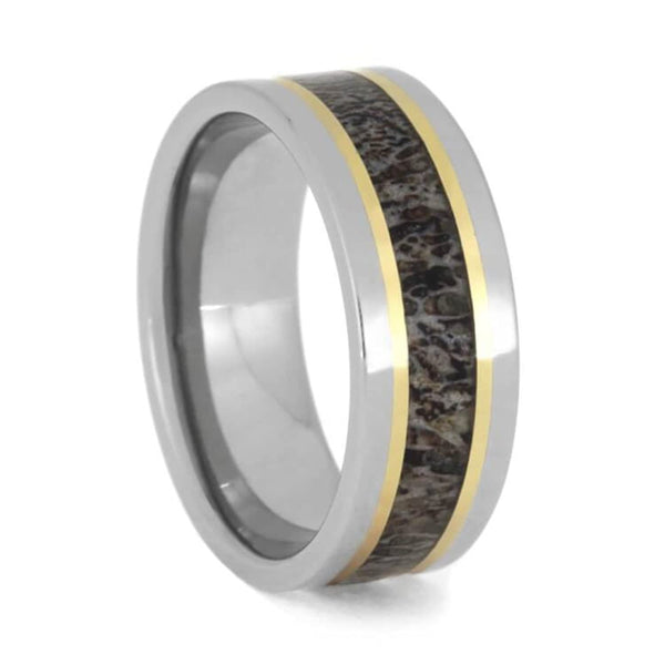 The Men's Jewelry Store (Unisex Jewelry) Deer Antler, 14k Yellow Gold Stripes 8mm Titanium Comfort-Fit Band, Size 10
