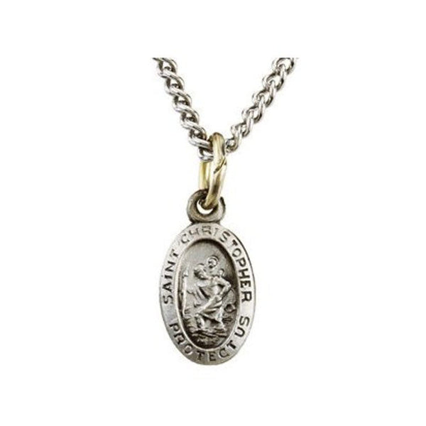 "Sterling Silver Oval St. Christopher Necklace, 18"" (19x14 MM)"