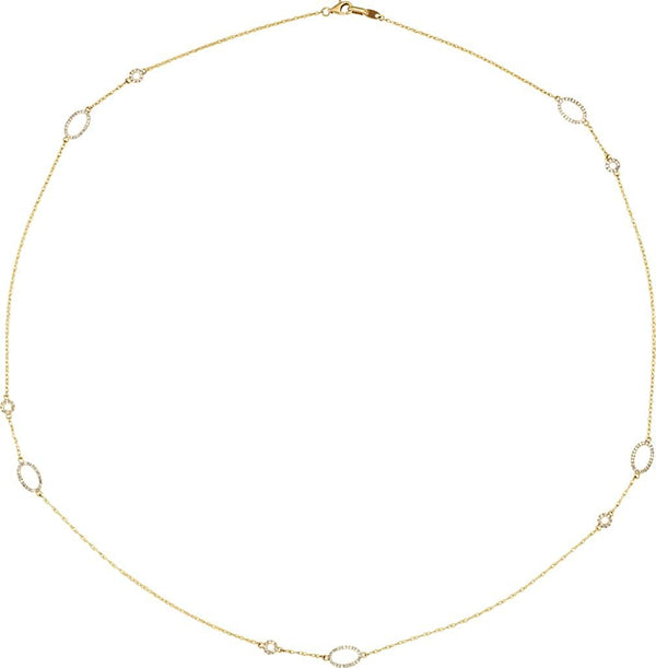 "Diamond Station Necklace in Rhodium Plate 14k Yellow Gold, 24"" (1/2 Cttw )"