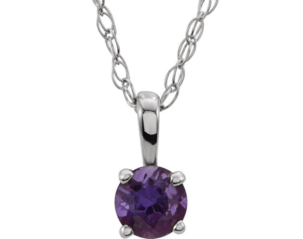 Children's Imitation Amethyst 'February' Birthstone Sterling Silver Pendant Necklace, 14""