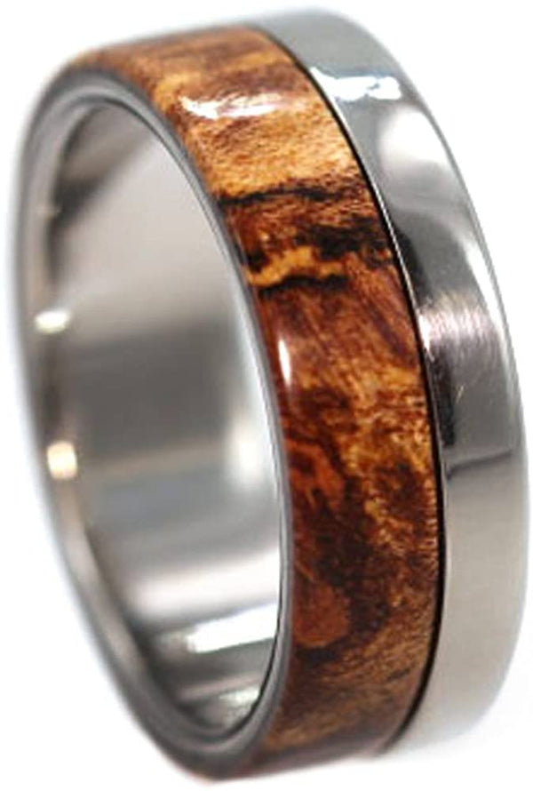 Three Wood Inlay 6mm Comfort-Fit Interchangeable Titanium Ring, Size 6