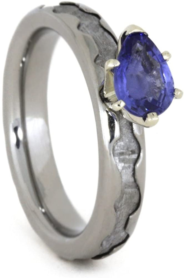 Created Blue Sapphire Pear,Gibeon Meteorite 4mm Comfort-Fit Titanium Engagement Band, Size 13.75